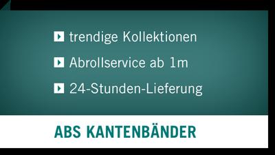 ABS Kantenbänder - trendige Kollektionen, Abrollservice ab 1m, 24-Stunden Lieferung